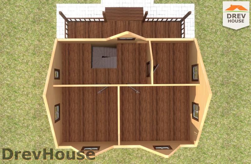 Вид изнутри 2 этажа проекта полутораэтажного дома из бруса ДБ-100