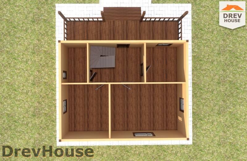 Вид изнутри 1 этажа проекта полутораэтажного дома из бруса ДБ-100