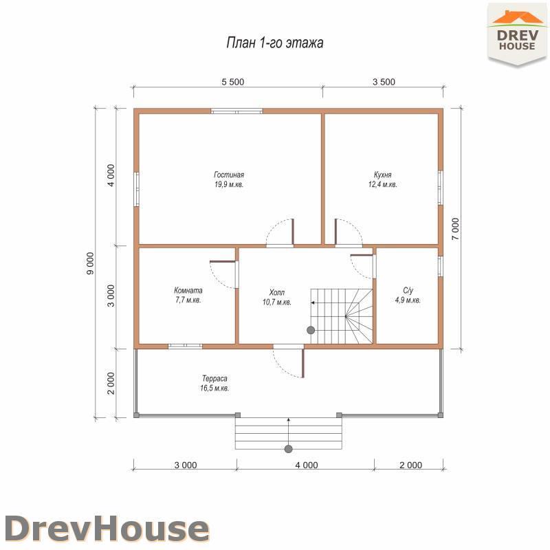 План 1 этажа полутораэтажного дома из бруса ДБ-100