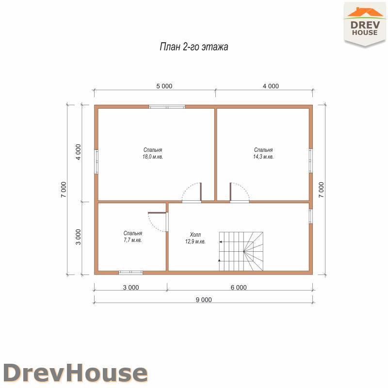 План 2 этажа полутораэтажного дома из бруса ДБ-100