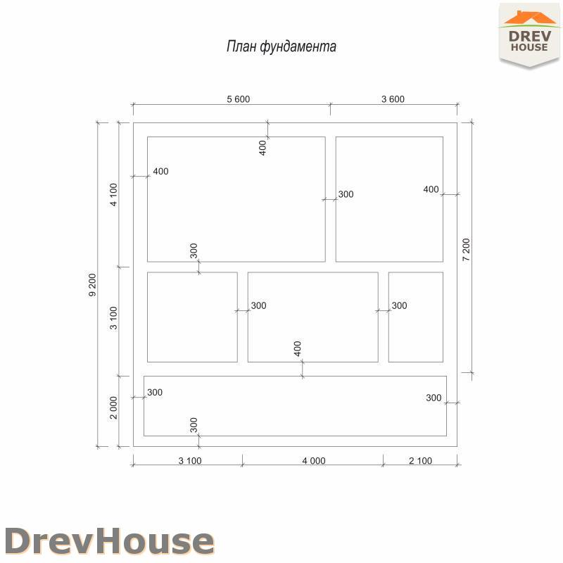 План фундамента полутораэтажного дома из бруса ДБ-100