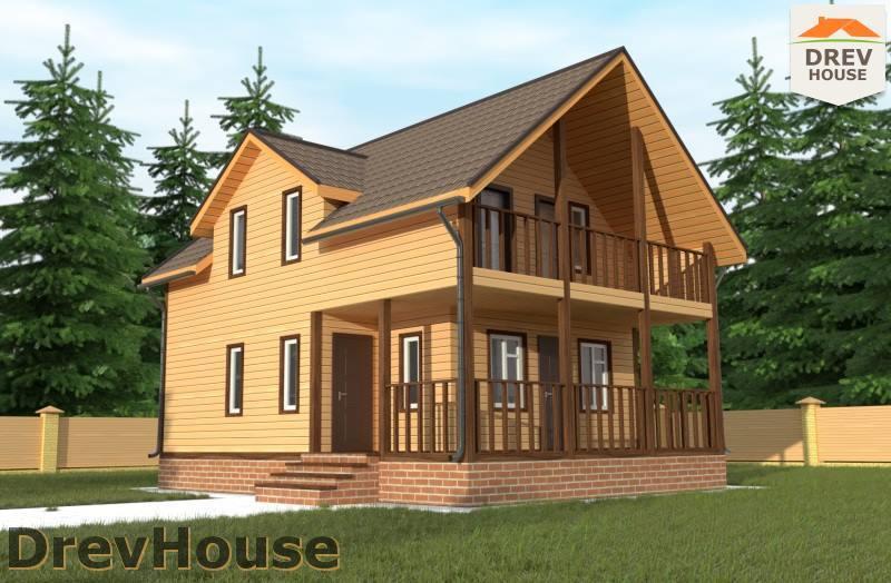 Главное фото проекта полутораэтажного дома из бруса ДБ-101