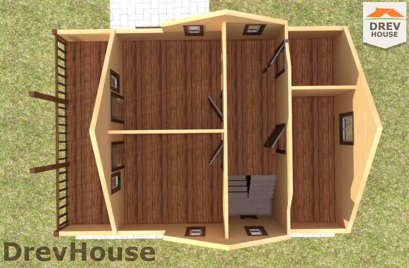 Вид изнутри 2 этажа проекта полутораэтажного дома из бруса ДБ-101