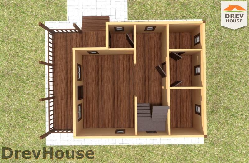 Вид изнутри 1 этажа проекта полутораэтажного дома из бруса ДБ-101