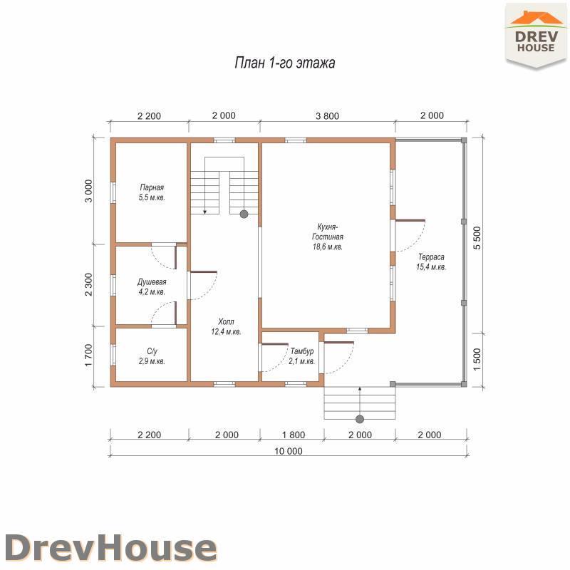 План 1 этажа полутораэтажного дома из бруса ДБ-101