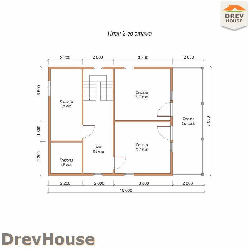 План 2 этажа полутораэтажного дома из бруса ДБ-101