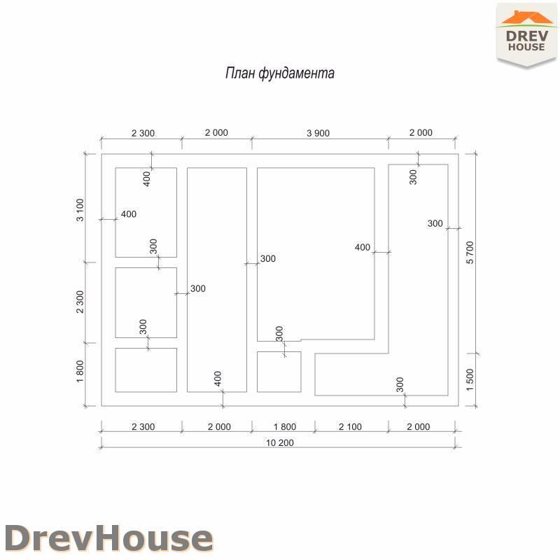 План фундамента полутораэтажного дома из бруса ДБ-101