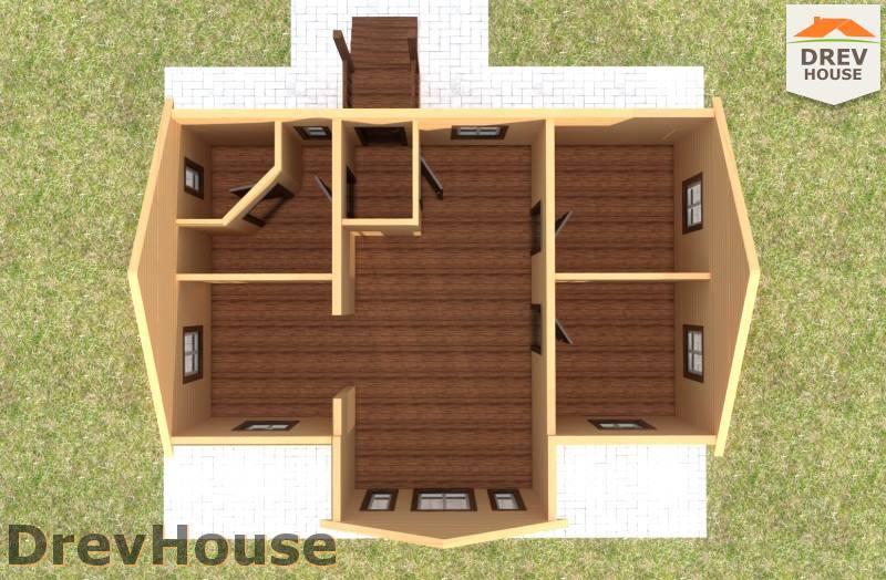 Вид изнутри 1 этажа проекта одноэтажного дома из бруса ДБ-103