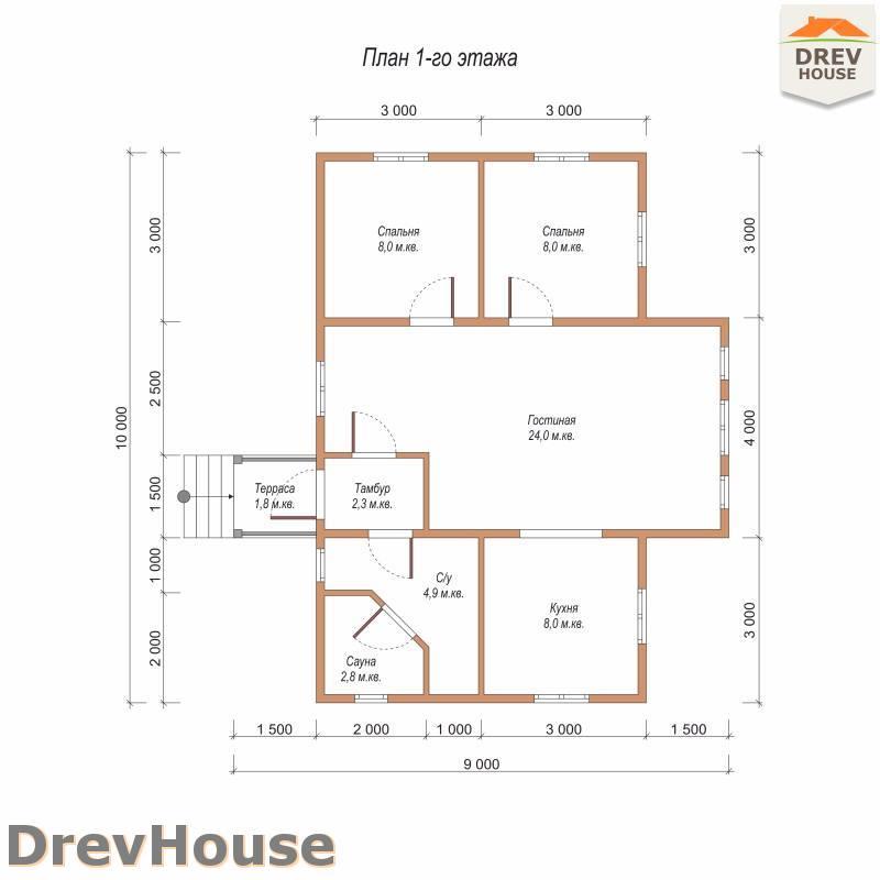 План 1 этажа одноэтажного дома из бруса ДБ-103