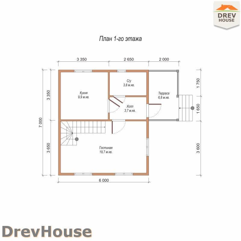 План 1 этажа полутораэтажного дома из бруса ДБ-104