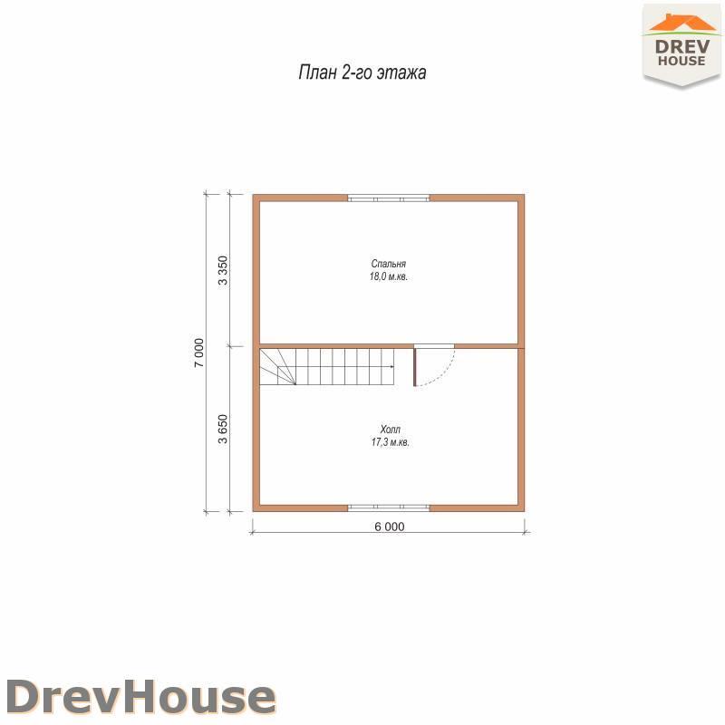 План 2 этажа полутораэтажного дома из бруса ДБ-104
