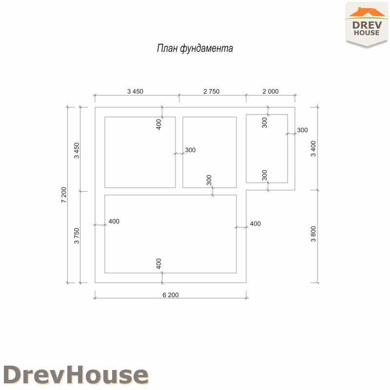 План фундамента полутораэтажного дома из бруса ДБ-104