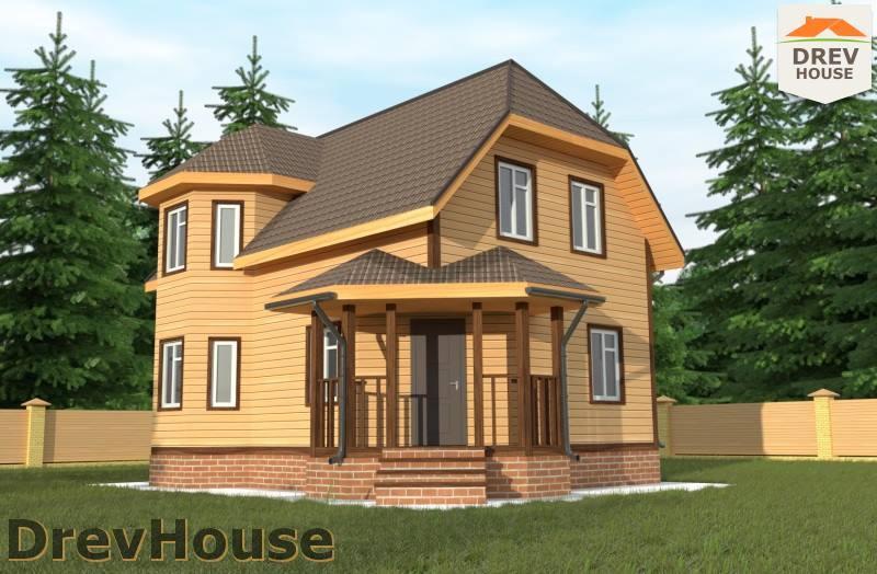 Главное фото проекта полутораэтажного дома из бруса ДБ-105