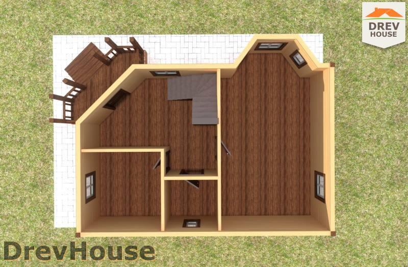 Вид изнутри 1 этажа проекта полутораэтажного дома из бруса ДБ-105