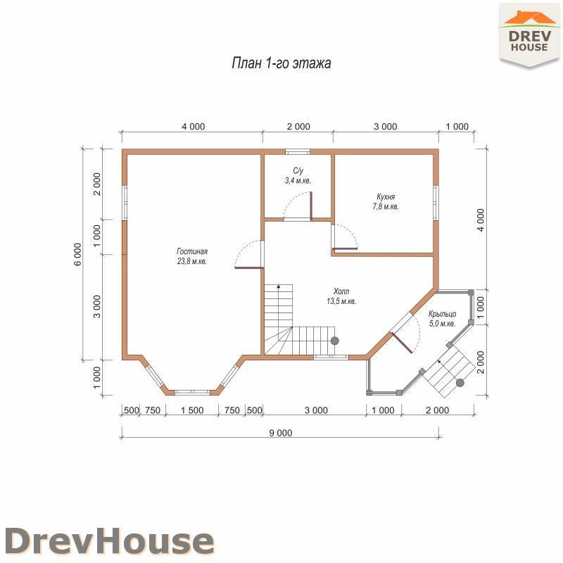 План 1 этажа полутораэтажного дома из бруса ДБ-105