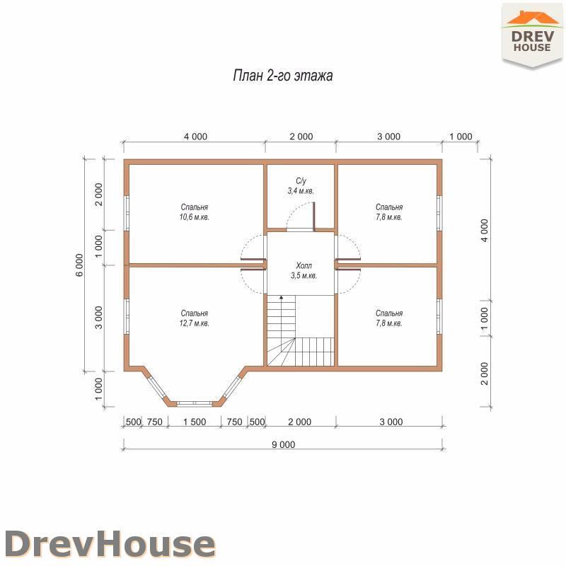 План 2 этажа полутораэтажного дома из бруса ДБ-105