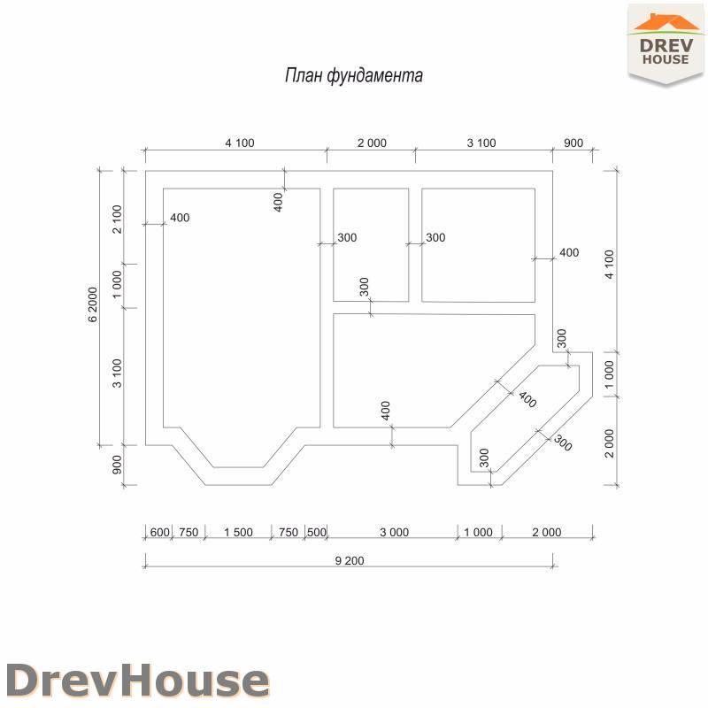 План фундамента полутораэтажного дома из бруса ДБ-105
