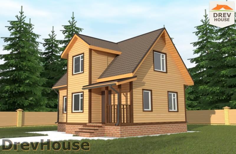 Главное фото проекта дома из бруса с мансардой ДБ-106