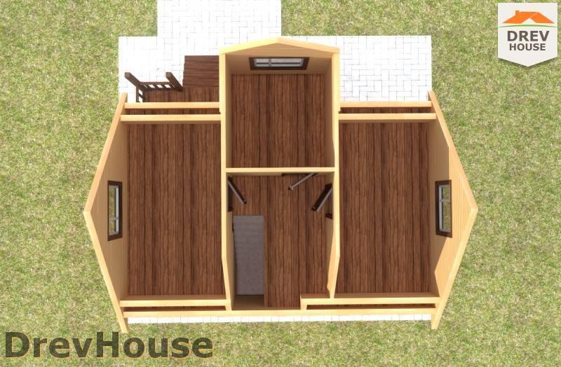 Вид изнутри 2 этажа проекта дома из бруса с мансардой ДБ-106