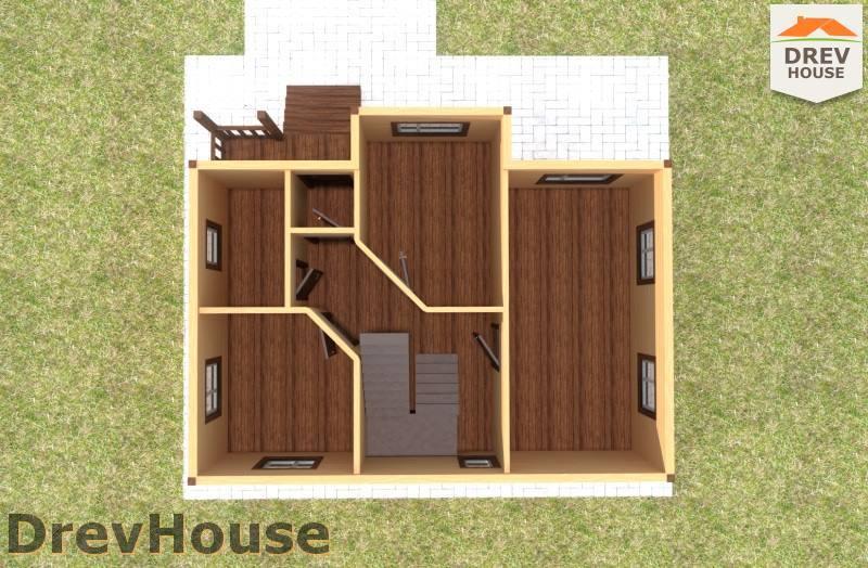 Вид изнутри 1 этажа проекта дома из бруса с мансардой ДБ-106