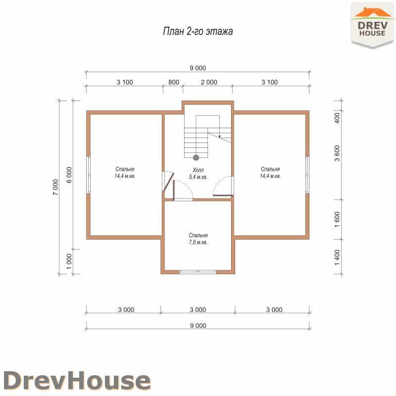 План 2 этажа дома из бруса с мансардой ДБ-106