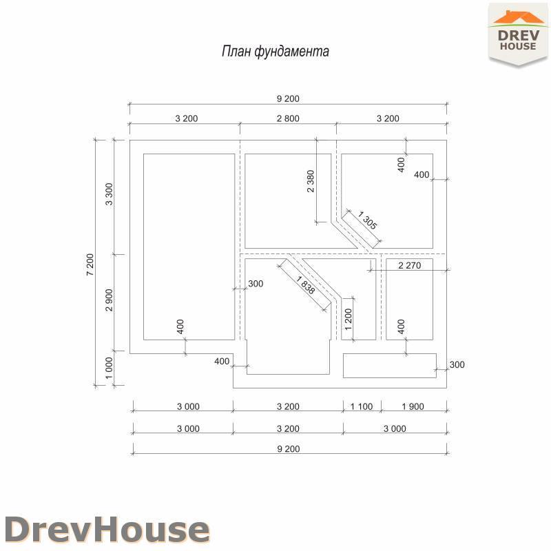 План фундамента дома из бруса с мансардой ДБ-106