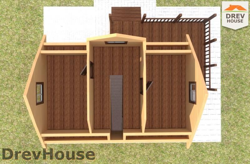 Вид изнутри 2 этажа проекта дома из бруса с мансардой ДБ-107