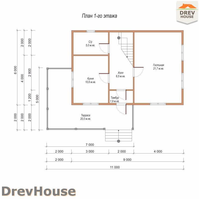План 1 этажа дома из бруса с мансардой ДБ-107
