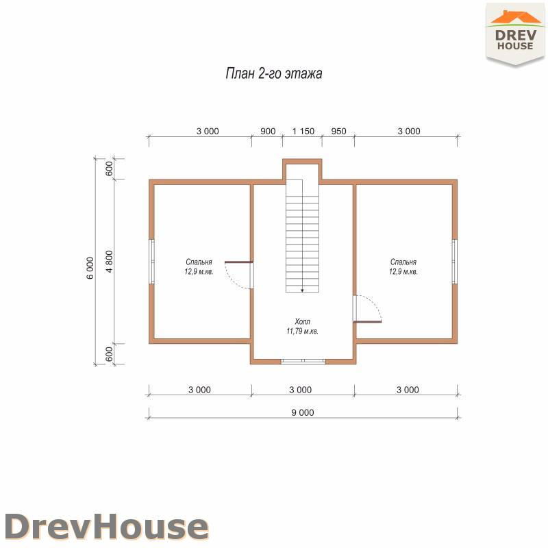 План 2 этажа дома из бруса с мансардой ДБ-107