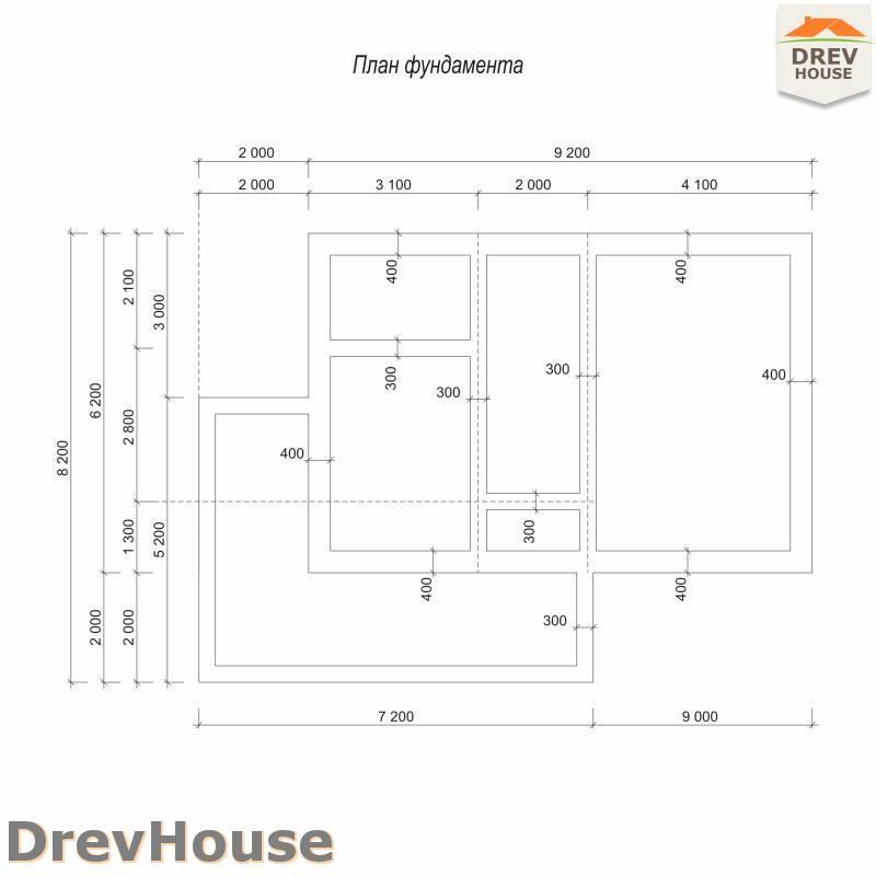 План фундамента дома из бруса с мансардой ДБ-107