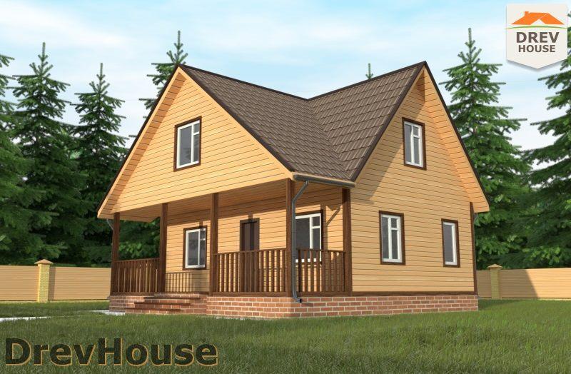 Главное фото проекта дома из бруса с мансардой ДБ-108