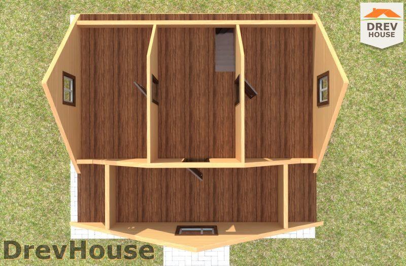 Вид изнутри 2 этажа проекта дома из бруса с мансардой ДБ-108