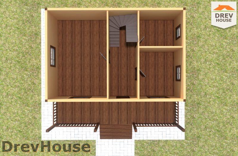 Вид изнутри 1 этажа проекта дома из бруса с мансардой ДБ-108