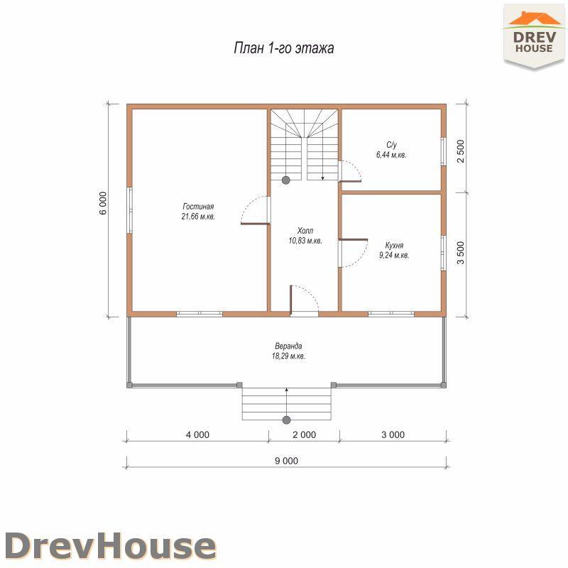 План 1 этажа дома из бруса с мансардой ДБ-108