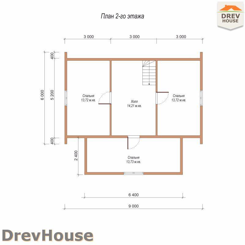 План 2 этажа дома из бруса с мансардой ДБ-108