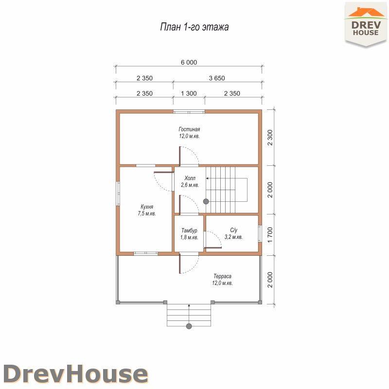 План 1 этажа дома из бруса с мансардой ДБ-87