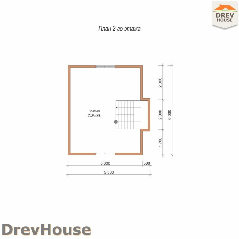 План 2 этажа дома из бруса с мансардой ДБ-87