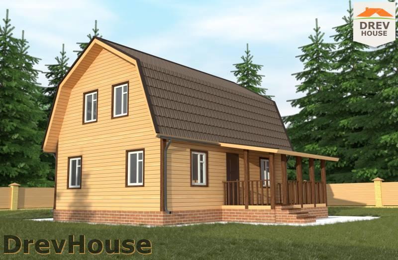 Главное фото проекта дома из бруса с мансардой ДБ-93