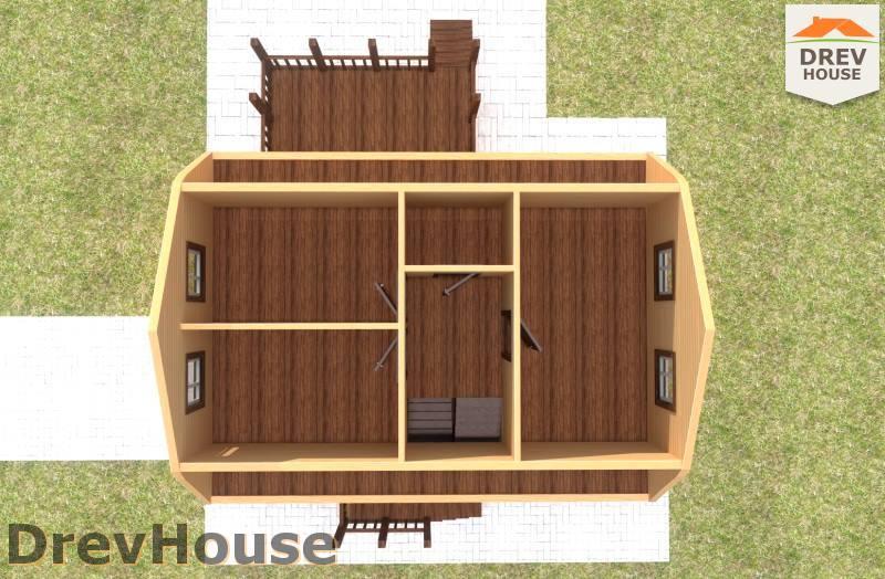 Вид изнутри 2 этажа проекта дома из бруса с мансардой ДБ-93
