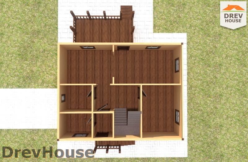 Вид изнутри 1 этажа проекта дома из бруса с мансардой ДБ-93