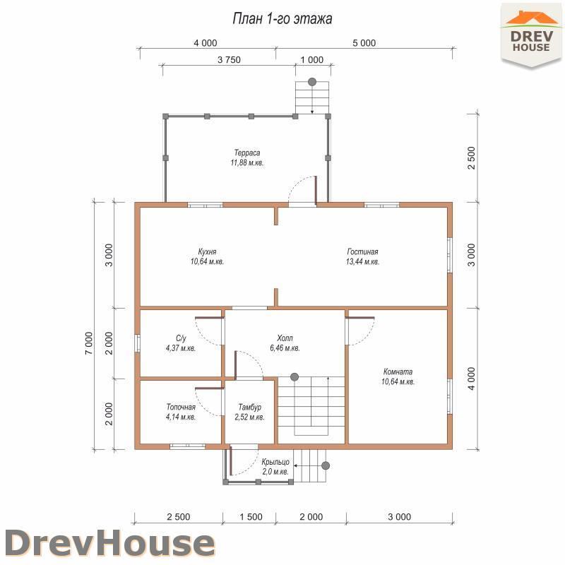 План 1 этажа дома из бруса с мансардой ДБ-93
