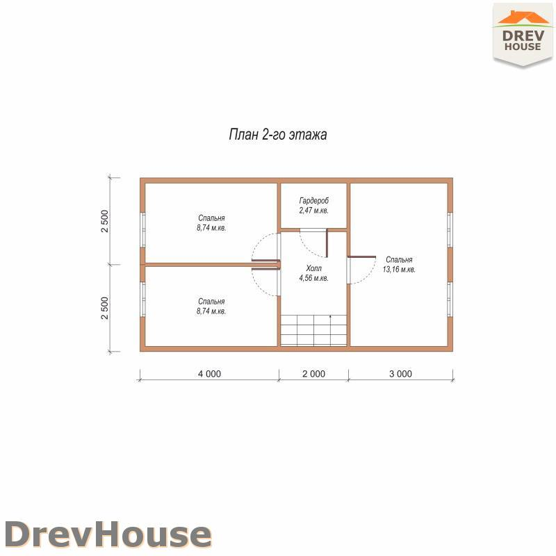 План 2 этажа дома из бруса с мансардой ДБ-93