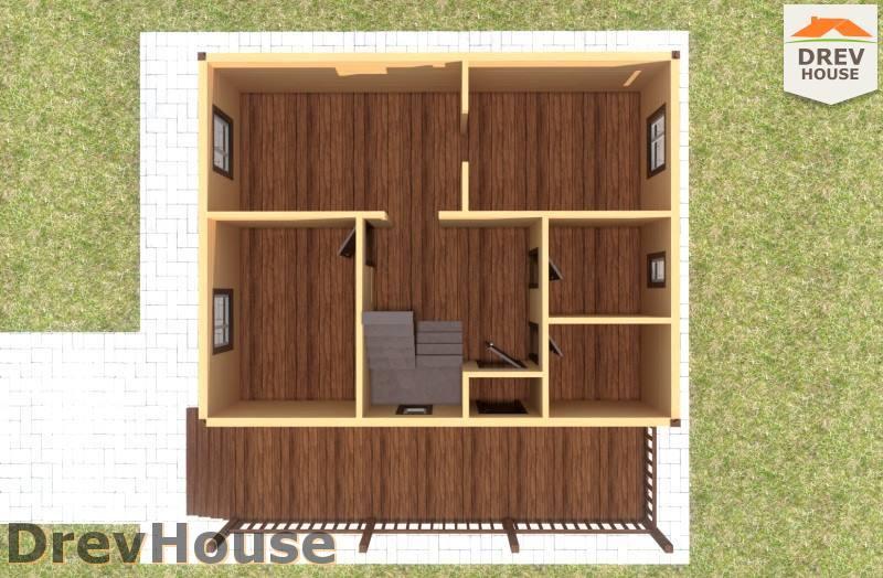 Вид изнутри 1 этажа проекта дома из бруса с мансардой ДБ-95