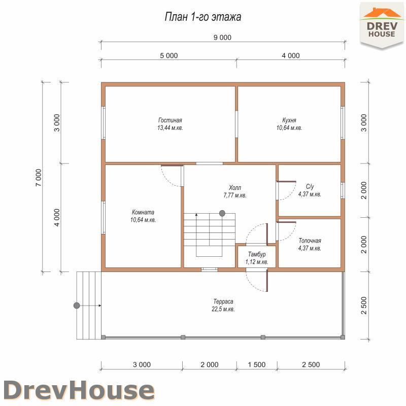 План 1 этажа дома из бруса с мансардой ДБ-95