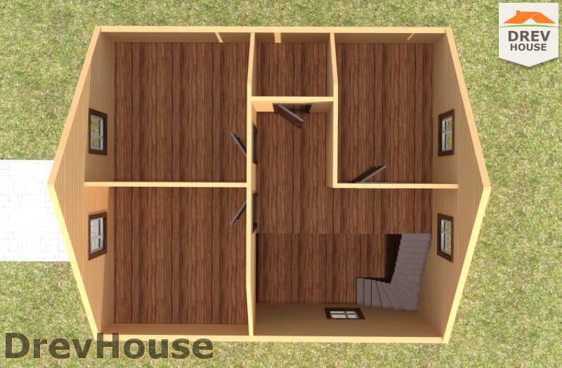 Вид изнутри 2 этажа проекта полутораэтажного дома из бруса ДБ-98