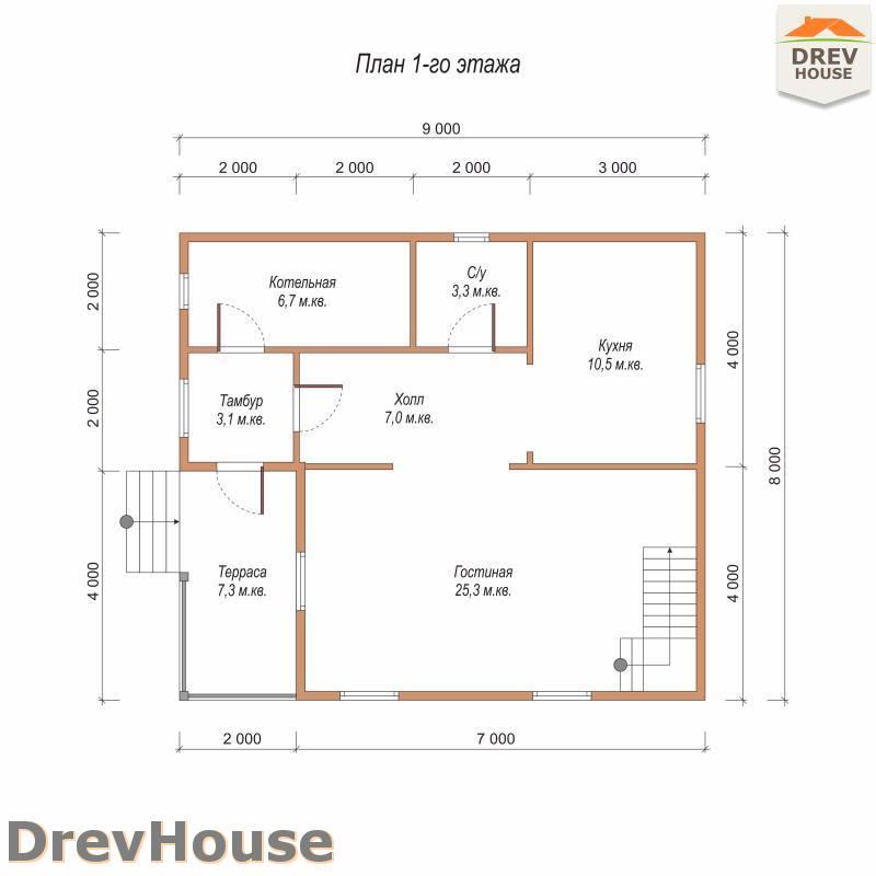 План 1 этажа полутораэтажного дома из бруса ДБ-98