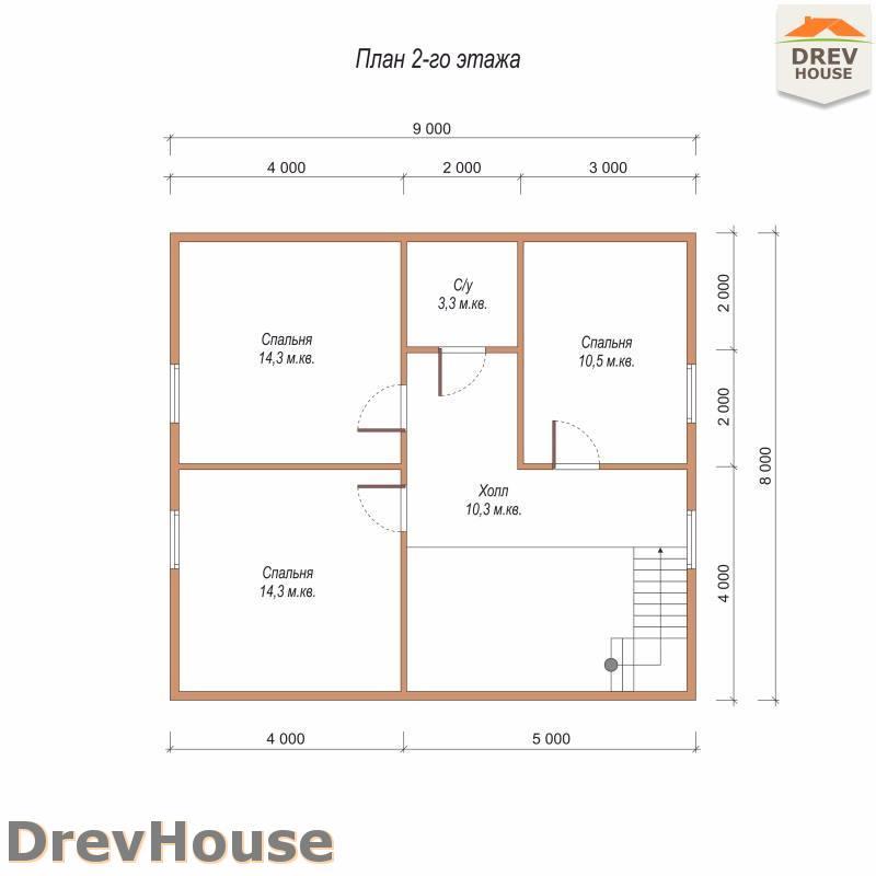 План 2 этажа полутораэтажного дома из бруса ДБ-98