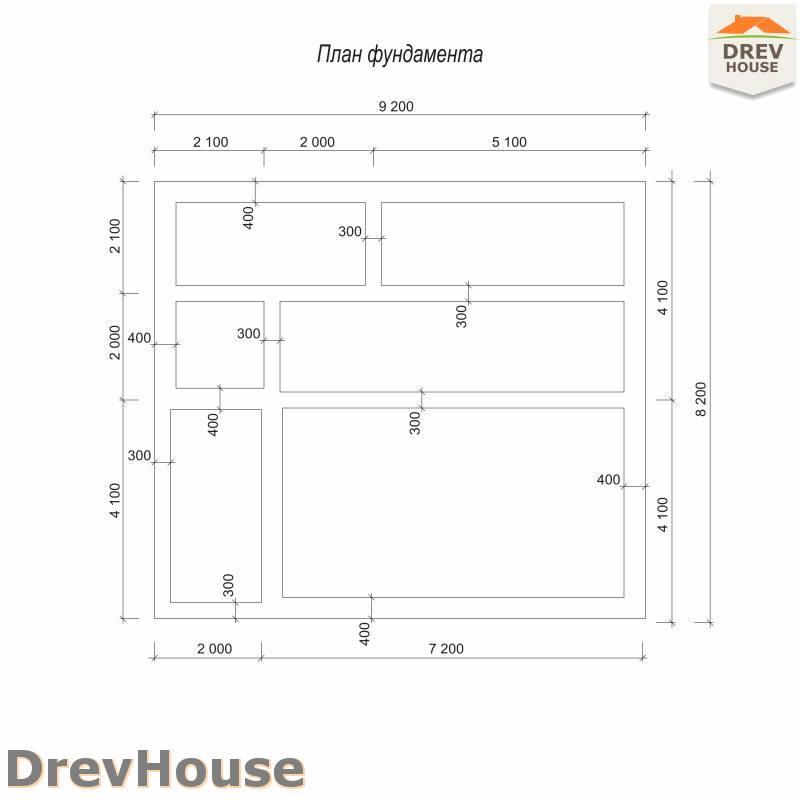 План фундамента полутораэтажного дома из бруса ДБ-98
