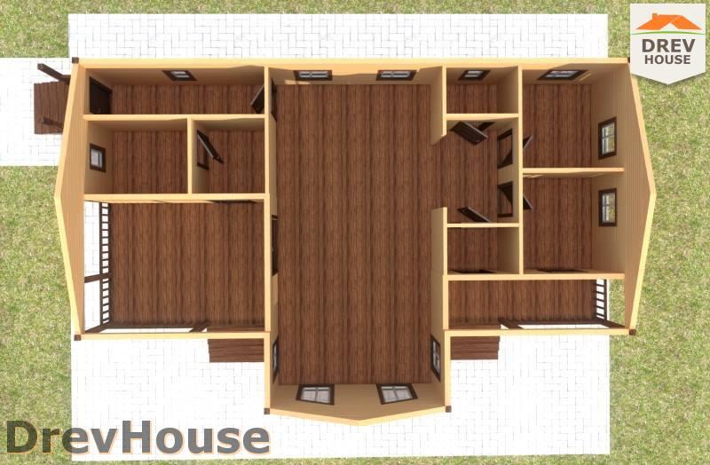 Вид изнутри 1 этажа проекта одноэтажного дома из бруса ДБ-99