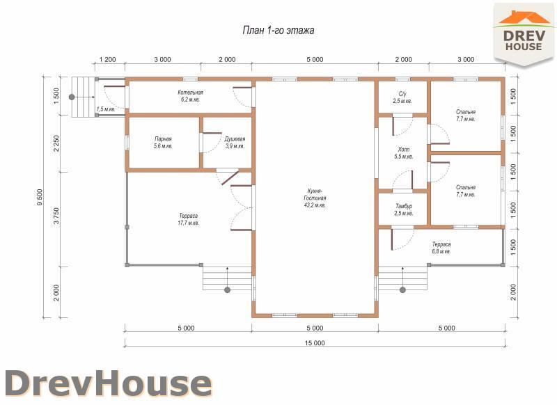 План 1 этажа одноэтажного дома из бруса ДБ-99